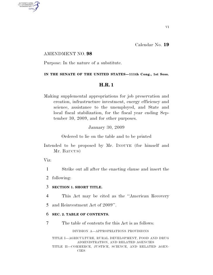 The Stimulus Bill