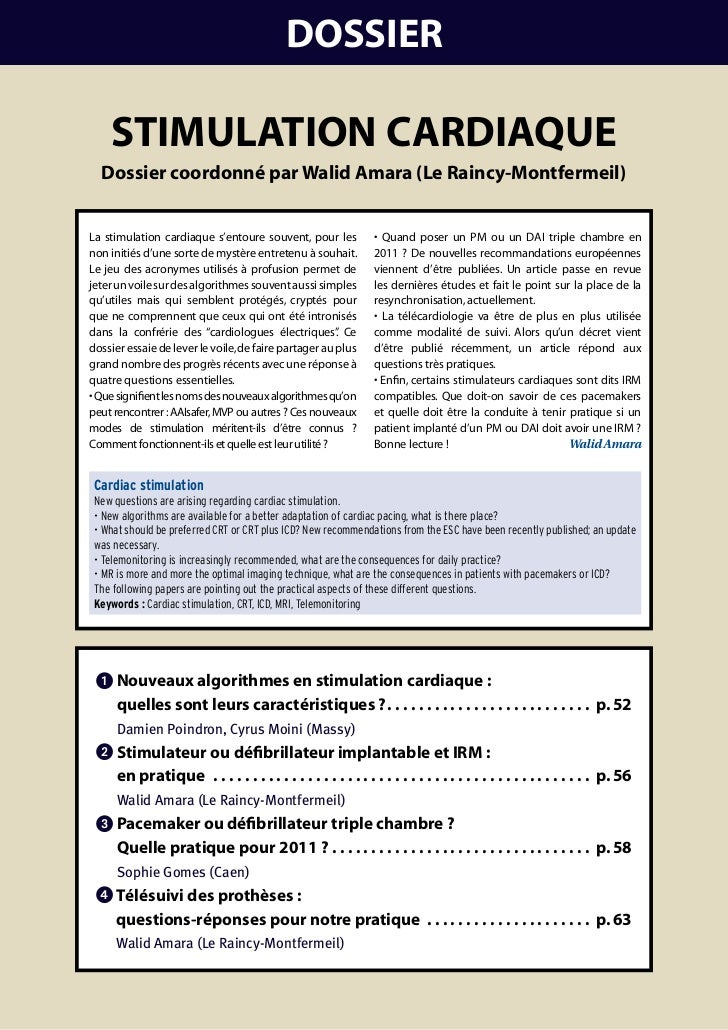 DOSSIER    StImulatIOn caRDIaquE  Dossier coordonné par Walid amara (le Raincy-montfermeil)La stimulation cardiaque s'ento...