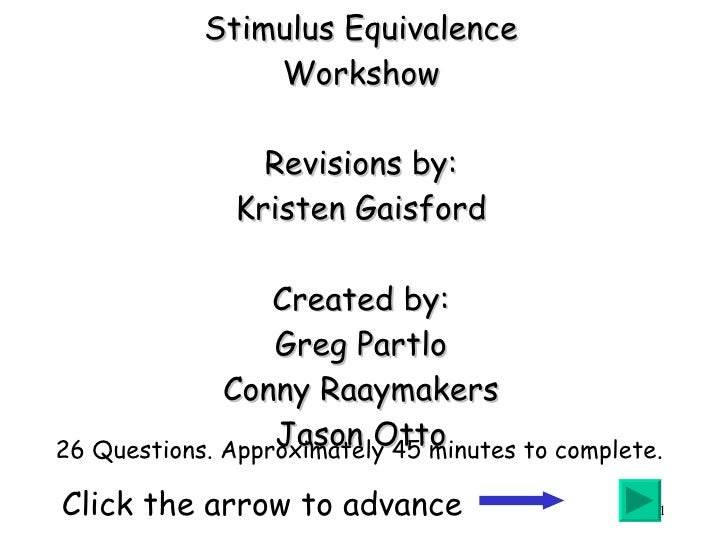Stimulus Equivalence Workshow Revisions by: Kristen Gaisford Created by: Greg Partlo Conny Raaymakers Jason Otto Click the...