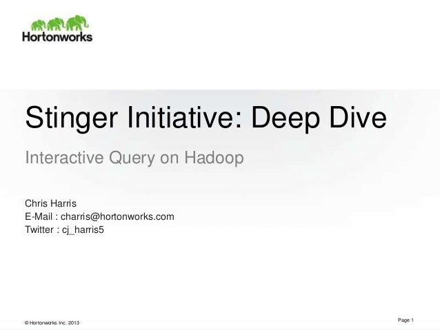© Hortonworks Inc. 2013Stinger Initiative: Deep DiveInteractive Query on HadoopPage 1Chris HarrisE-Mail : charris@hortonwo...