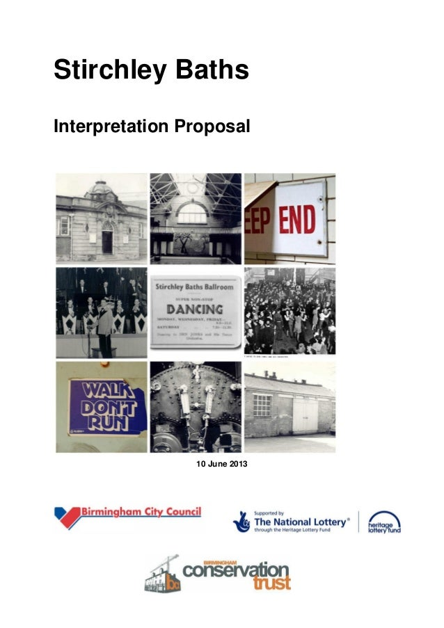 Stirchley Baths Interpretation Proposal  10 June 2013