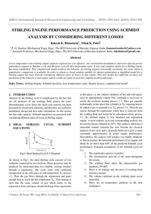Stirling engine performance prediction using schmidt