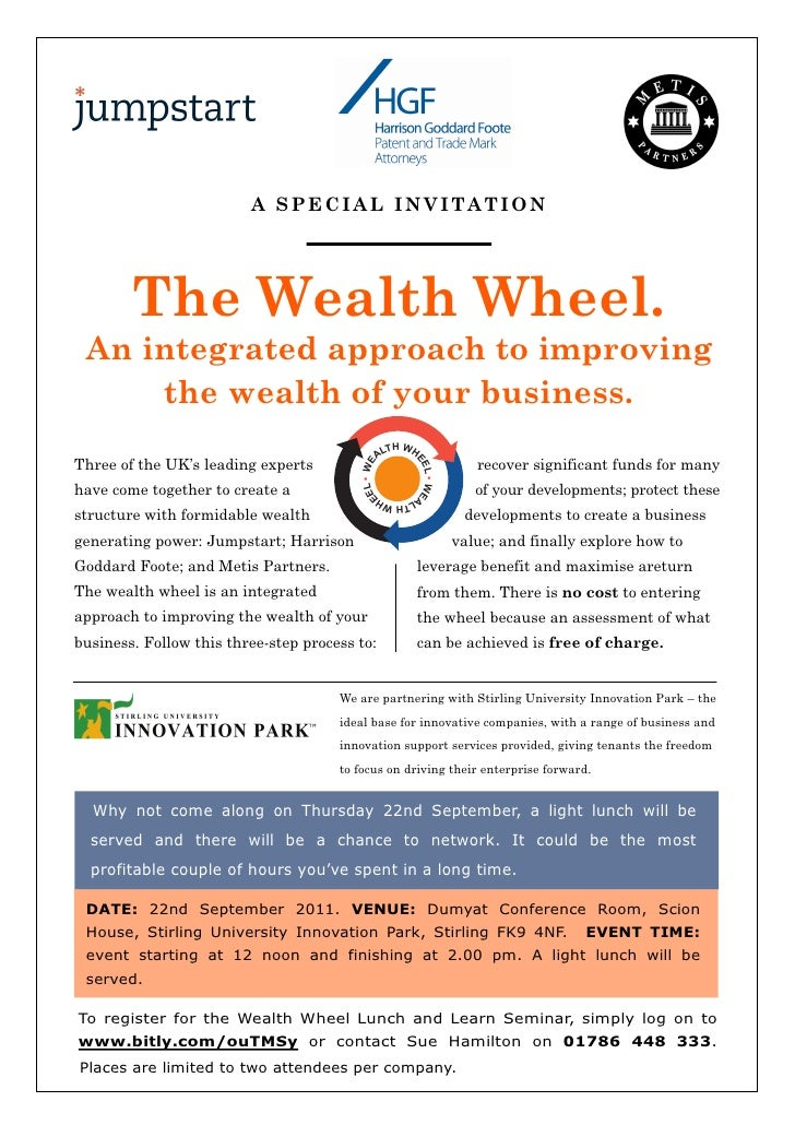 A SPECIAL INVITATION        The Wealth Wheel. An integrated approach to improving     the wealth of your business.        ...