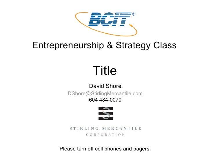 Venture Capital 101 to BCIT Nov 08