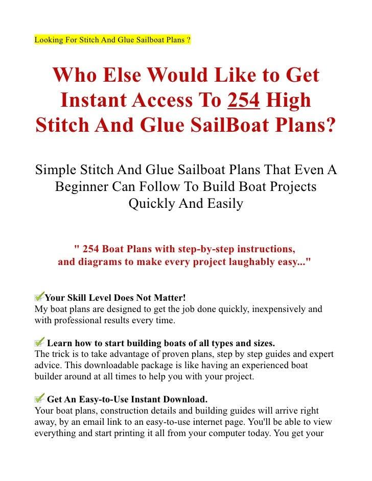 Sailboat Plans Free Stitch And Glue Stitch And Glue Sailboat Plans