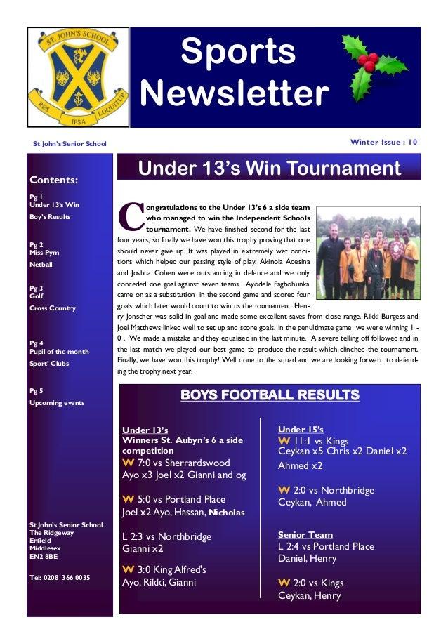 St johns prep and senior school sports newsletter autumn 2013 Soccer Newsletter