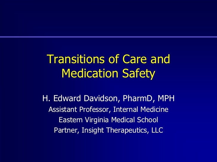 Transitions of Care Medication Safety