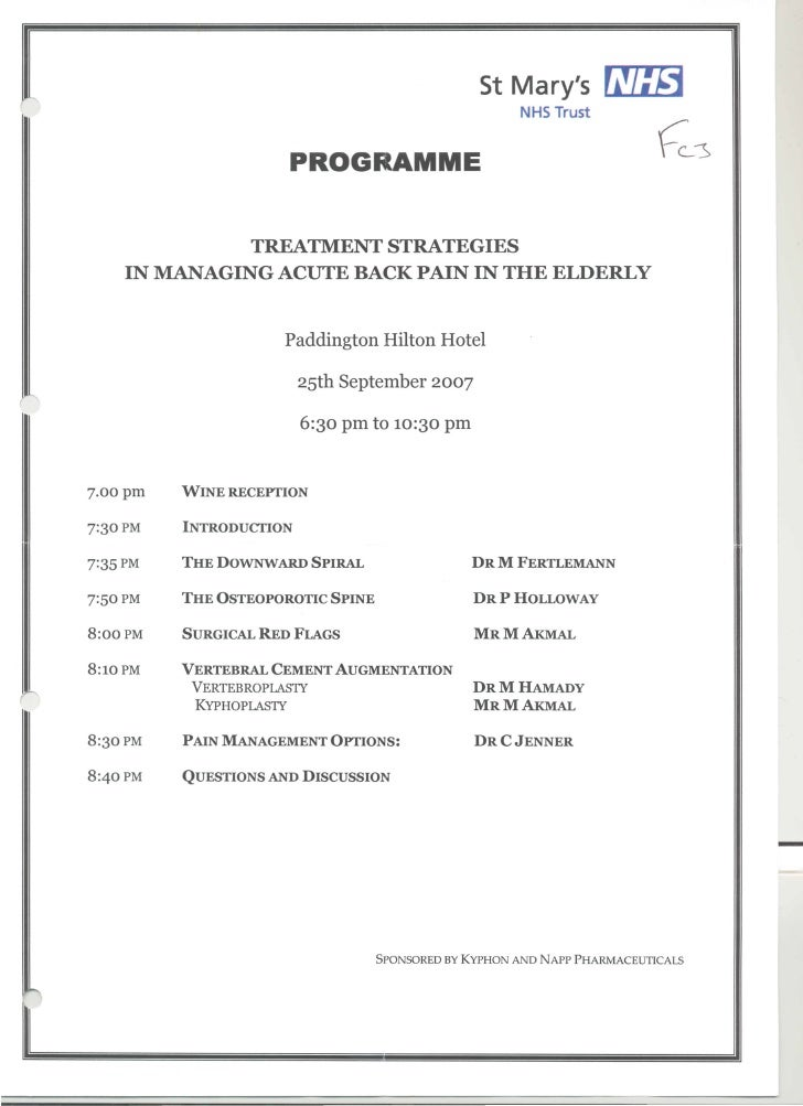 St Mary's programme -  Treatment strategies for managing acute back pain in the elderly