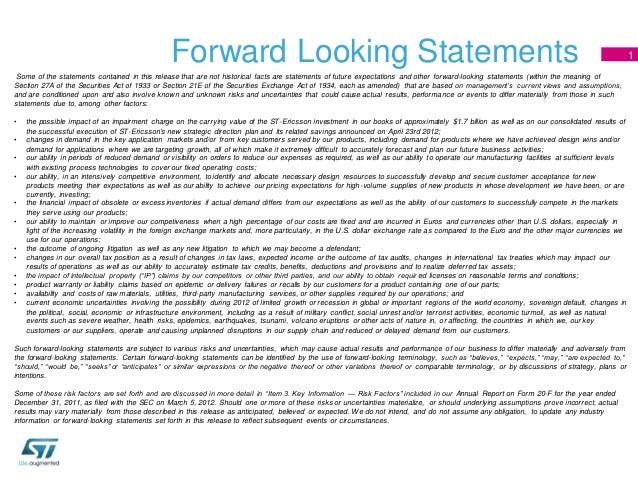 Forward Looking Statements                                                                                                ...