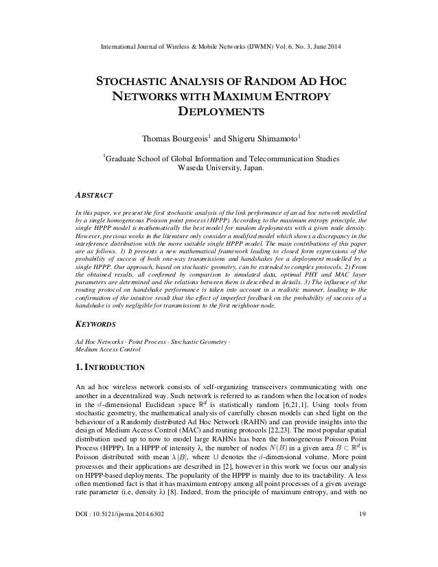 Stochastic analysis of random ad hoc networks with maximum entropy deployments