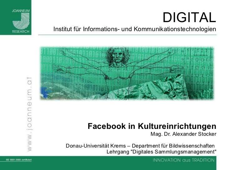 Facebook in Kultureinrichtungen