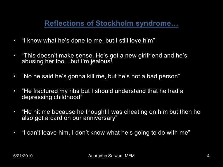 stockholm syndrome essay ( krasnec) stockholm syndrome is a term used to describe when a kidnap or barricade victim sees their captor in a positive way and forms a bond with them the captor is no longer a wolf among sheep they are identified as another human being, one who controls life and death.