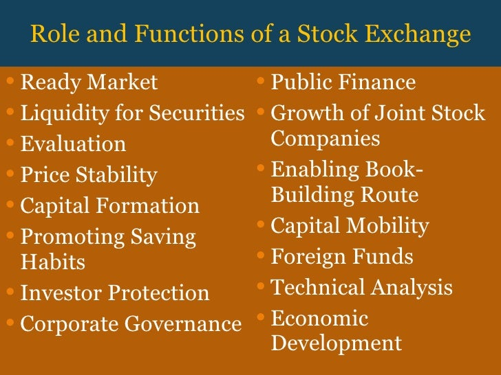 "role and functions of stock exchange The johannesburg stock exchange (""jse"") the sustainability function at the coal face of the jse's interaction with key clients and a range of."
