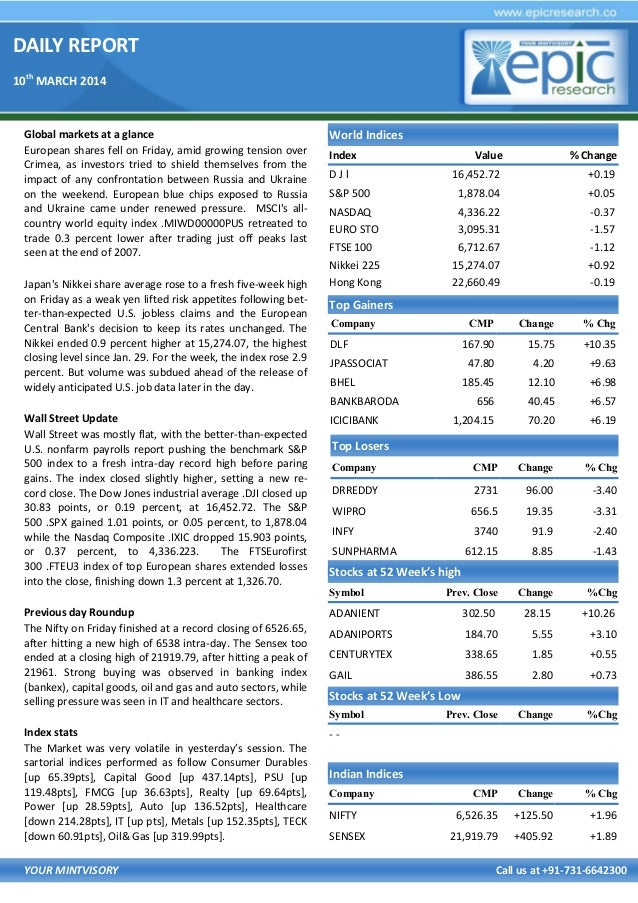 Stock market special report by epic research 10 march 2014