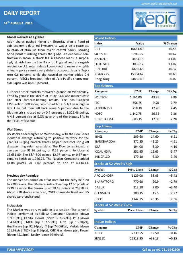 DAILY REPORT 14th AUGUST 2014 YOUR MINTVISORY Call us at +91-731-6642300 Global markets at a glance Asian shares pushed hi...