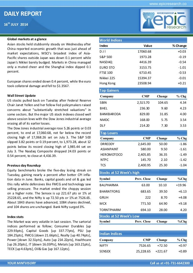 DAILY REPORT 16th JULY 2014 YOUR MINTVISORY Call us at +91-731-6642300 Global markets at a glance Asian stocks held stubbo...