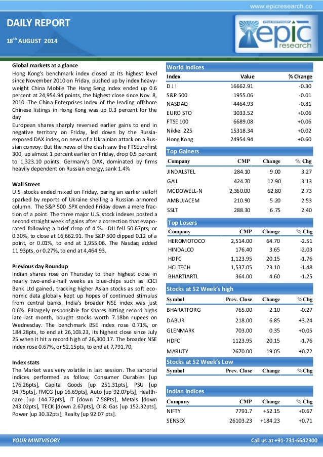 DAILY REPORT 18th AUGUST 2014 YOUR MINTVISORY Call us at +91-731-6642300 Global markets at a glance Hong Kong's benchmark ...