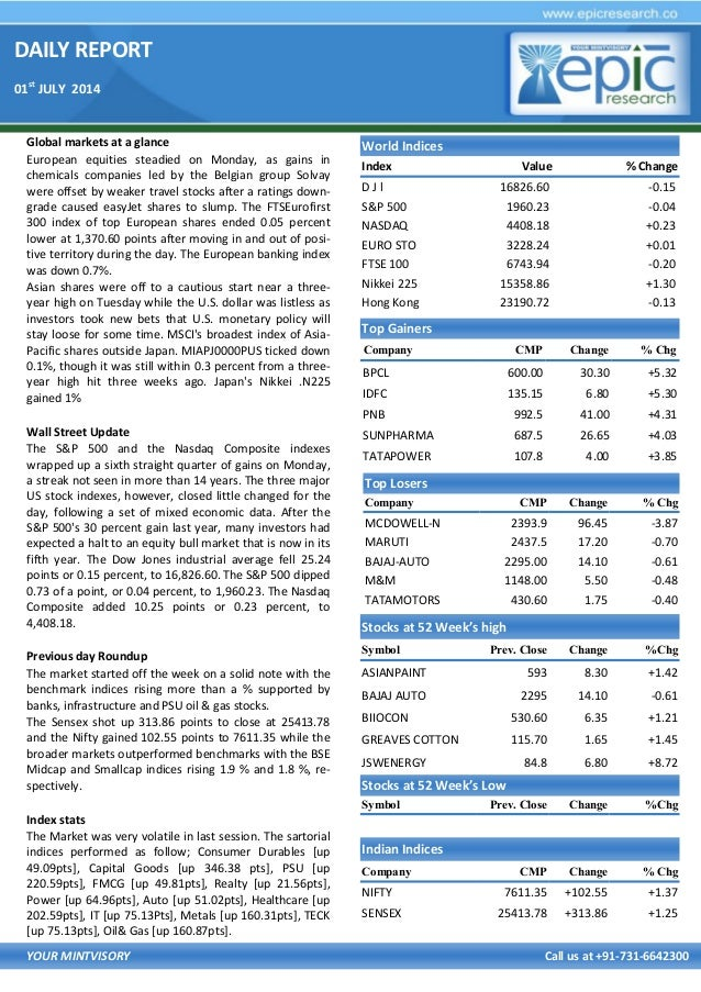 DAILY REPORT 01st JULY 2014 YOUR MINTVISORY Call us at +91-731-6642300 Global markets at a glance European equities steadi...