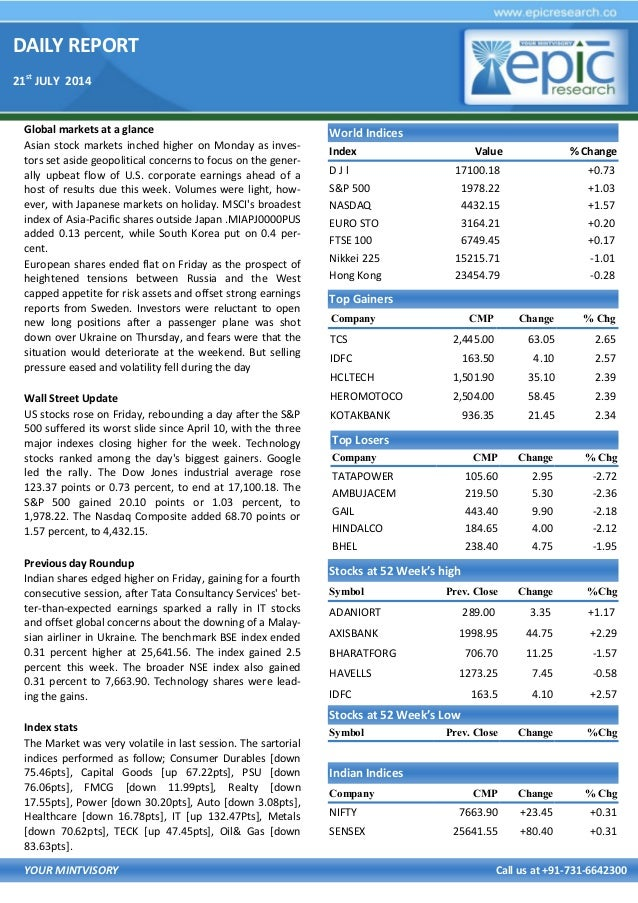 DAILY REPORT 21st JULY 2014 YOUR MINTVISORY Call us at +91-731-6642300 Global markets at a glance Asian stock markets inch...