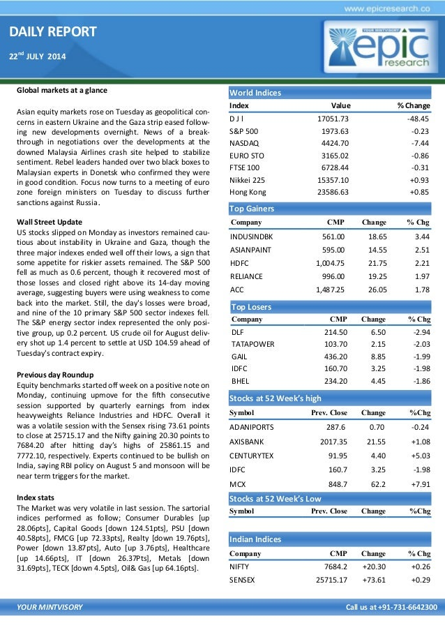 DAILY REPORT 22nd JULY 2014 YOUR MINTVISORY Call us at +91-731-6642300 Global markets at a glance Asian equity markets ros...