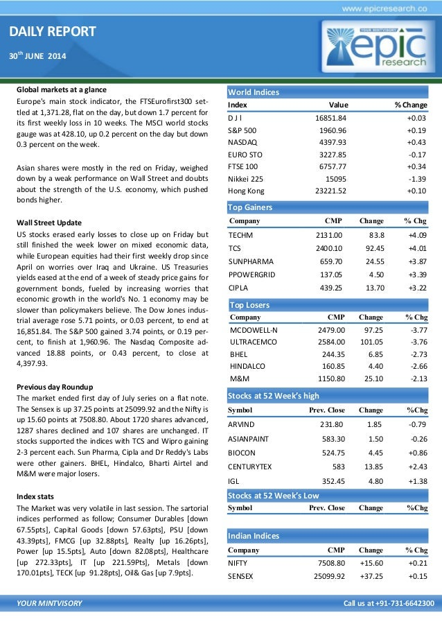 DAILY REPORT 30th JUNE 2014 YOUR MINTVISORY Call us at +91-731-6642300 Global markets at a glance Europe's main stock indi...