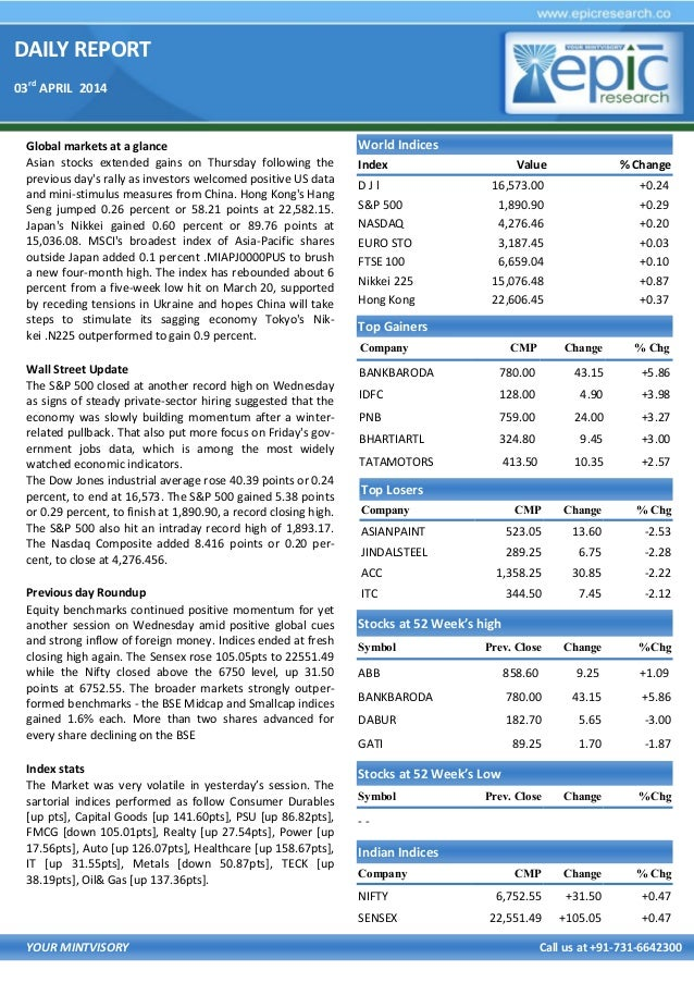 DAILY REPORT 03rd APRIL 2014 YOUR MINTVISORY Call us at +91-731-6642300 Global markets at a glance Asian stocks extended g...