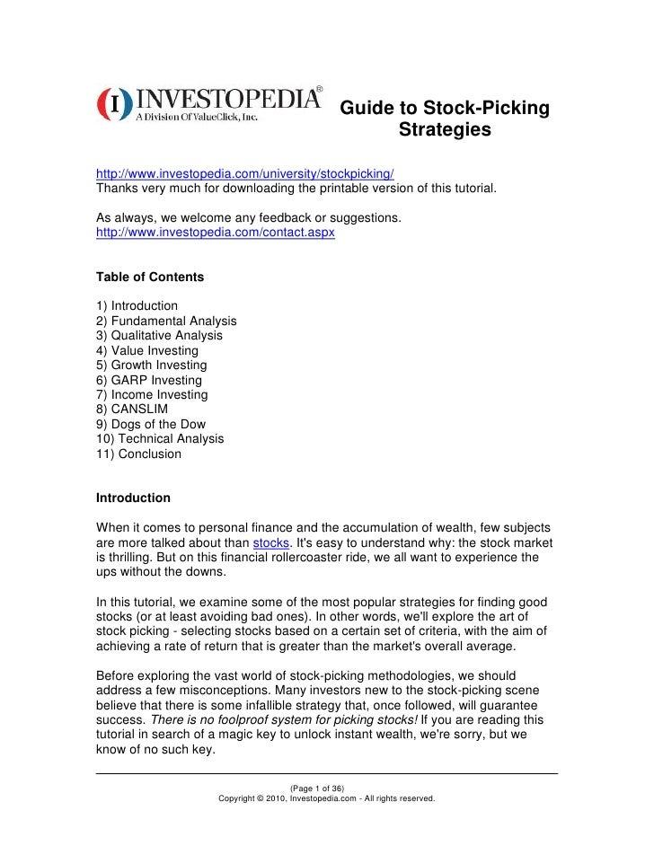 Stock Picking Strategies