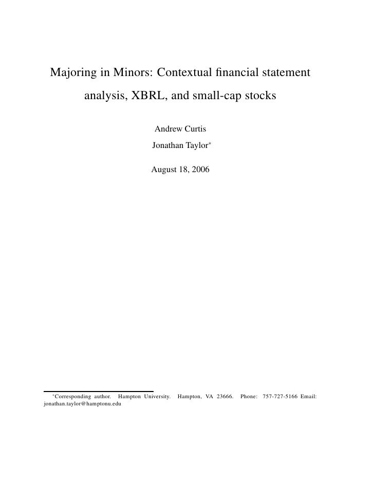 Majoring in Minors: Contextual financial statement               analysis, XBRL, and small-cap stocks                      ...