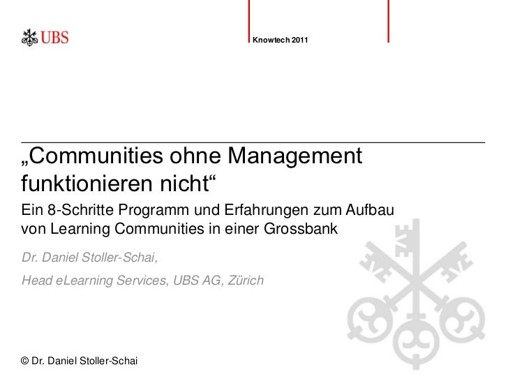 "Community Building bei der UBS AG. ""Communities ohne Management funktionieren nicht"""