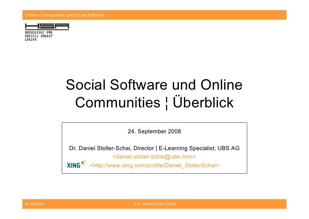 Online Communities und Social Software                        Social Software und Online                     Communities ¦...