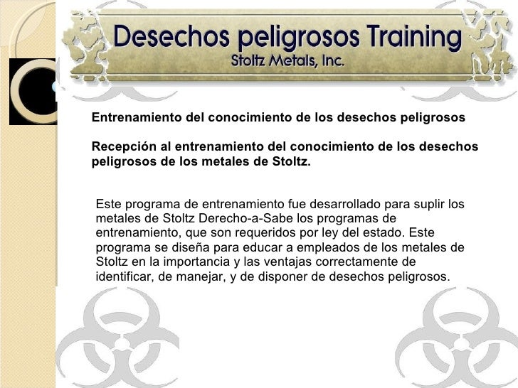 Entrenamiento del conocimiento de los desechos peligrosos Recepción al entrenamiento del conocimiento de los desechos peli...