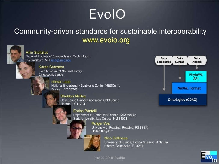 June 29, 2010 iEvoBio<br />EvoIO<br /> Community-driven standards for sustainable interoperability<br />www.evoio.org<br /...