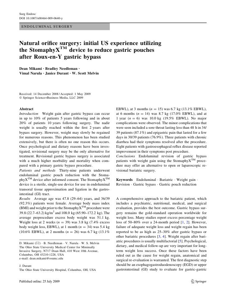 Surg Endosc DOI 10.1007/s00464-009-0640-y   ENDOLUMINAL SURGERY    Natural orifice surgery: initial US experience utilizing...
