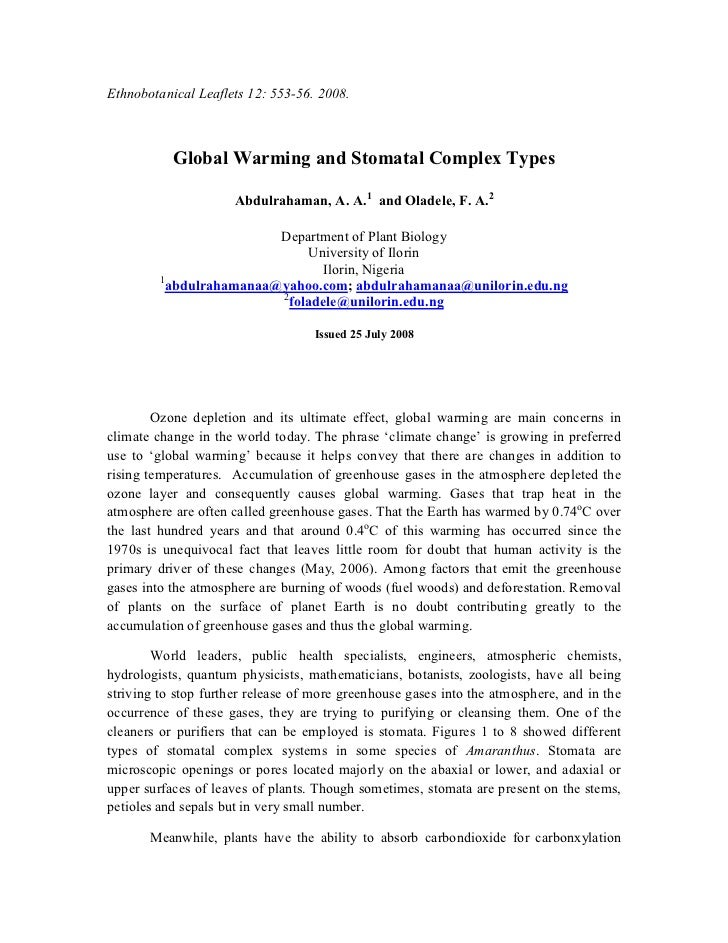 Ethnobotanical Leaflets 12: 553-56. 2008.           Global Warming and Stomatal Complex Types                      Abdulra...