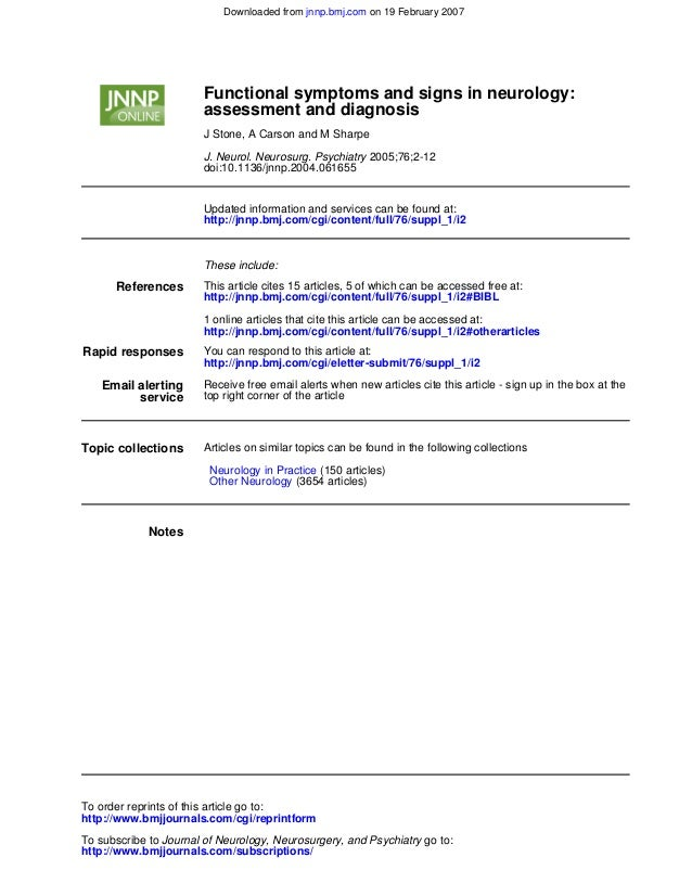doi:10.1136/jnnp.2004.061655 2005;76;2-12J. Neurol. Neurosurg. Psychiatry J Stone, A Carson and M Sharpe assessment and di...