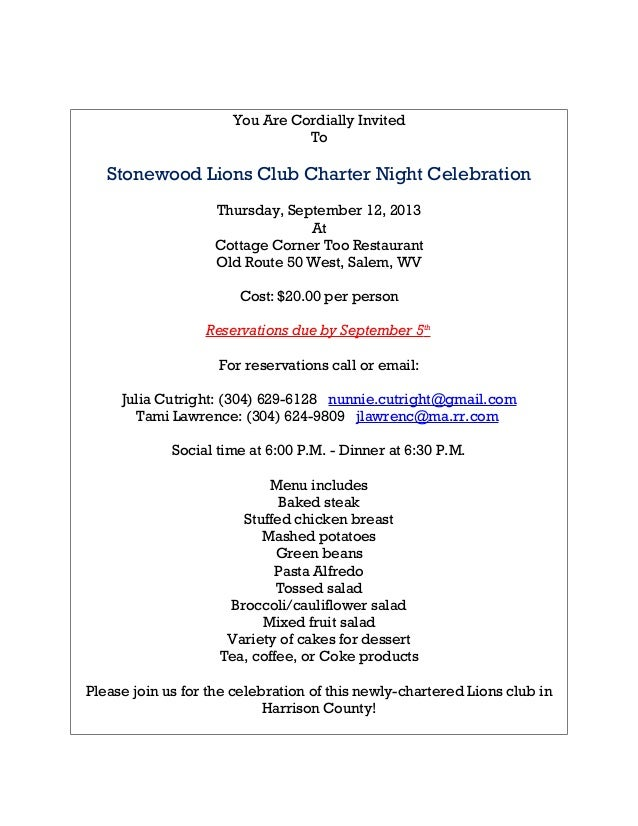 You Are Cordially Invited To Stonewood Lions Club Charter Night Celebration Thursday, September 12, 2013 At Cottage Corner...