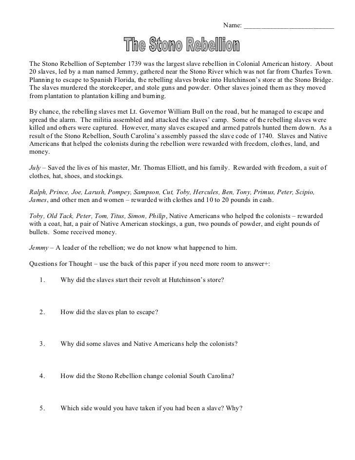 Stono rebellion worksheet