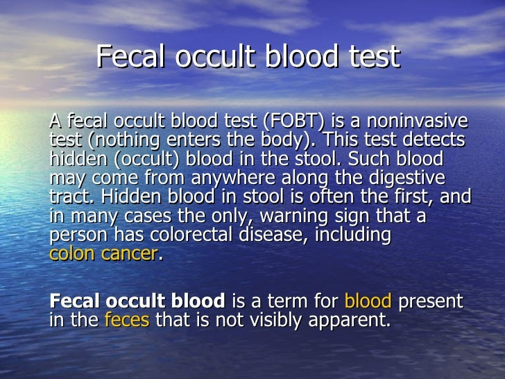 Stool occult blood test