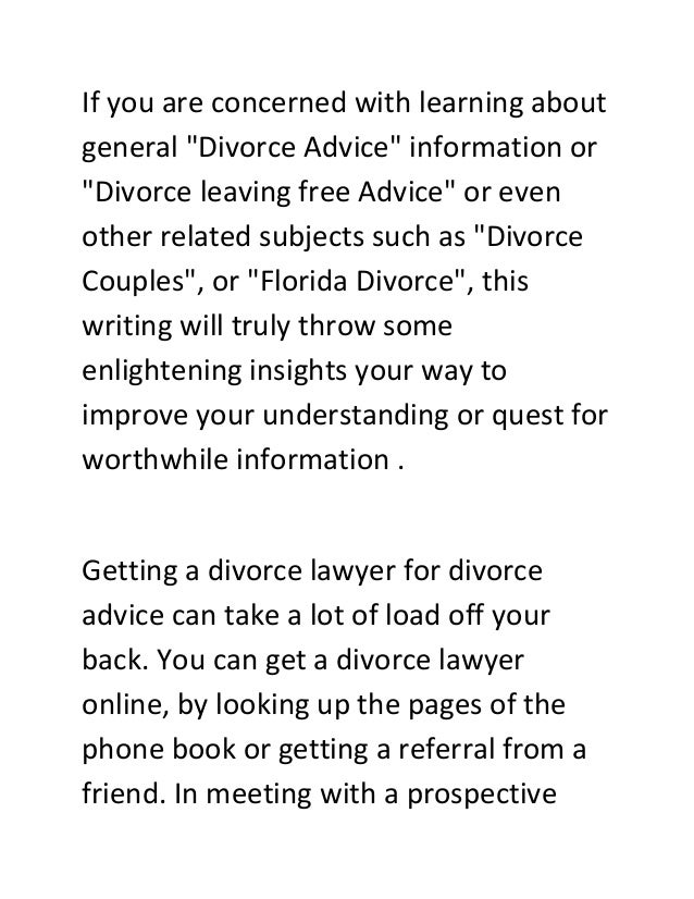 Stop! Read This Before Making Any Decision About Divorce Advice