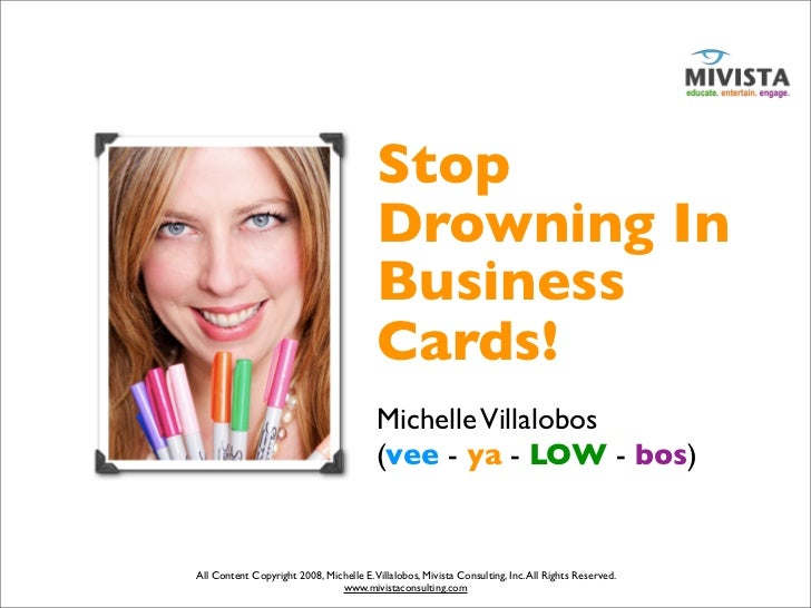 """""""Stop Drowning In Business Cards"""" – Michelle Villalobos presentation to Glazer Kennedy Insider Circle"""
