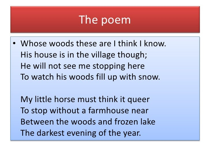 poem analysis stopping by the woods