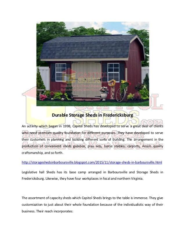 Durable storage sheds in fredericksburg for Durable sheds