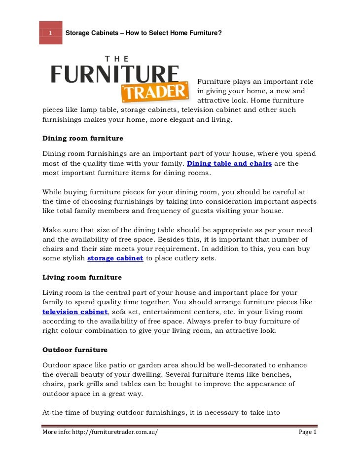1     Storage Cabinets – How to Select Home Furniture?                                               Furniture plays an im...