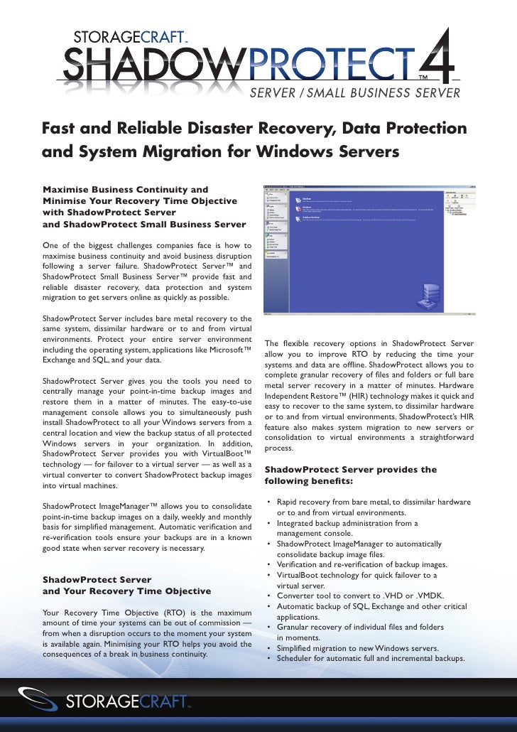 Fast and Reliable Disaster Recovery, Data Protectionand System Migration for Windows ServersMaximise Business Continuity a...