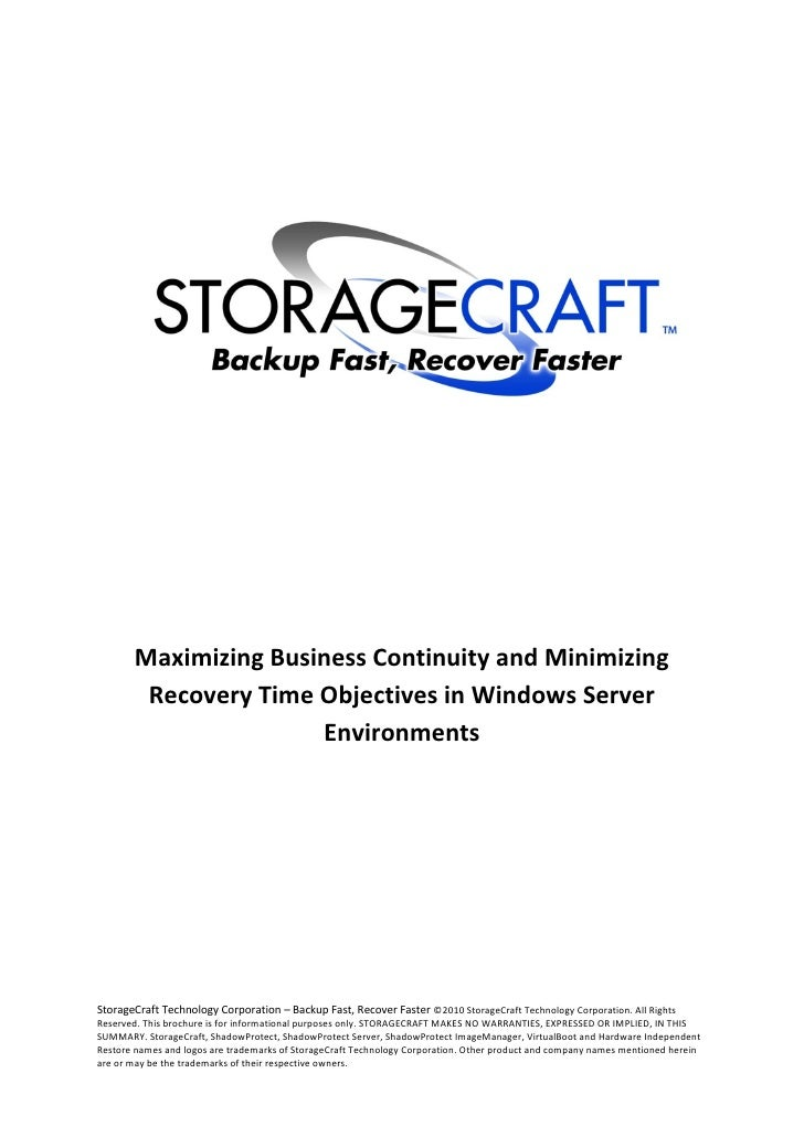Storage craft shadowprotect_server_whitepaper_disaster_recovery_1004_en