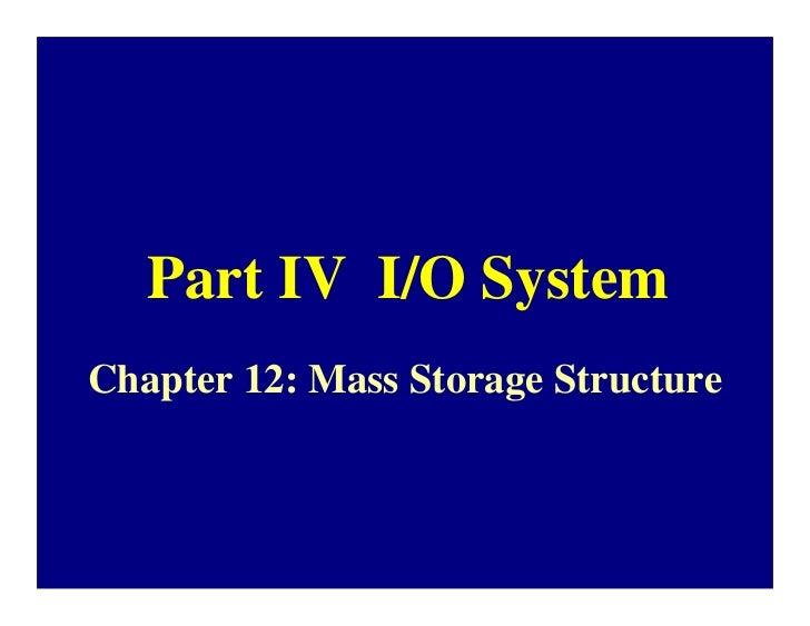 Part IV I/O SystemChapter 12: Mass Storage Structure