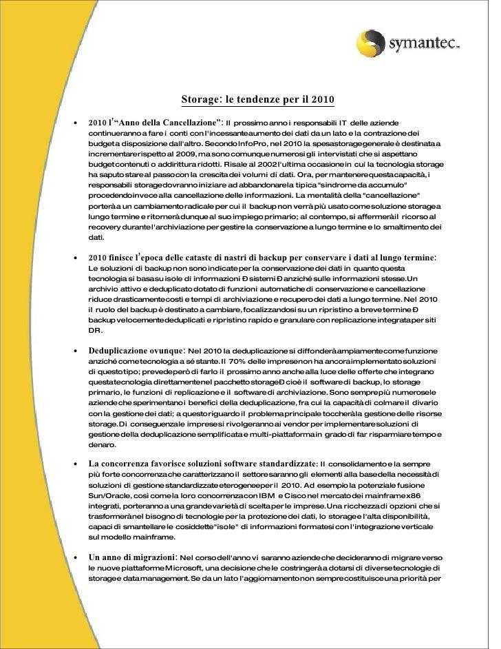 """Storage: le tendenze per il 2010  •   2010 l'""""Anno della Cancellazione"""": Il prossimo anno i responsabili IT delle aziende ..."""