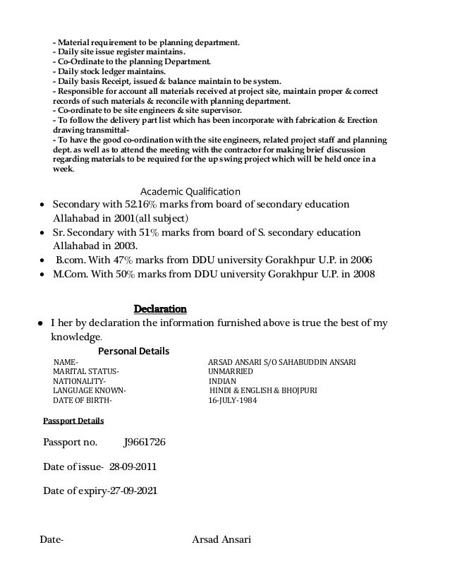 Store Incharge Resume Download