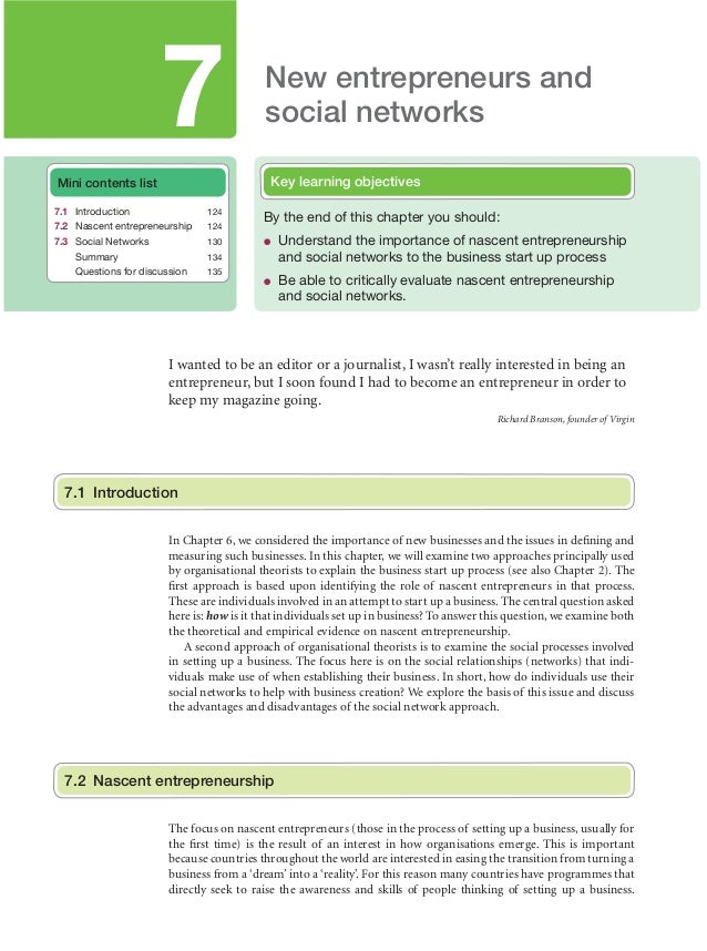 7  New entrepreneurs and social networks Key learning objectives  Mini contents list 7.1 Introduction  124  7.2 Nascent en...
