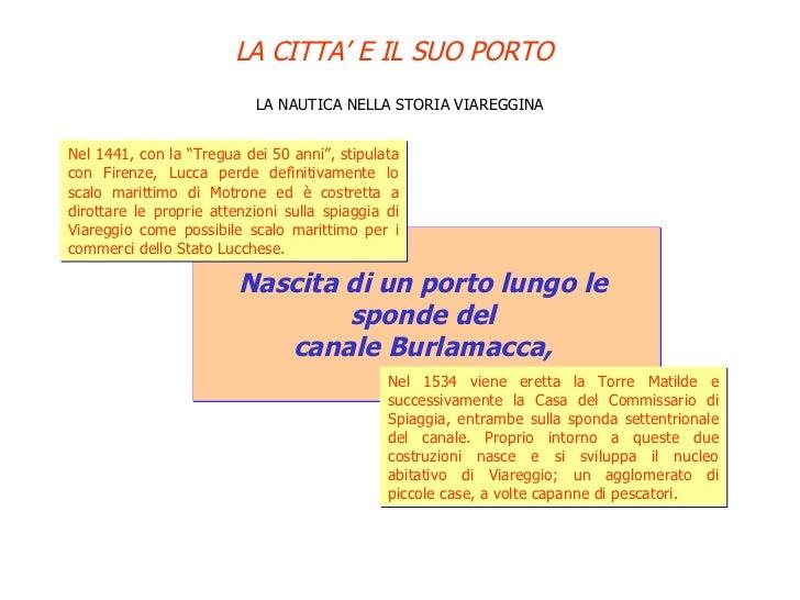 """LA NAUTICA NELLA STORIA VIAREGGINA Nascita di un porto lungo le  sponde del  canale Burlamacca,  Nel 1441, con la """"Tregua ..."""